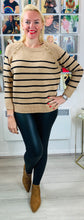 Load image into Gallery viewer, Breton Knit with Gold Heart Buttons - chichappensboutique