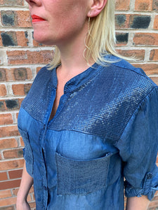 Sequin Shoulder & Pocket Shirt - chichappensboutique