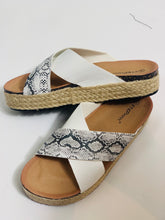 Load image into Gallery viewer, White & Snake Cross Front Sandals - chichappensboutique