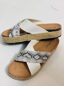 White & Snake Cross Front Sandals