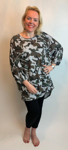 Long Camo Top - Grey - chichappensboutique