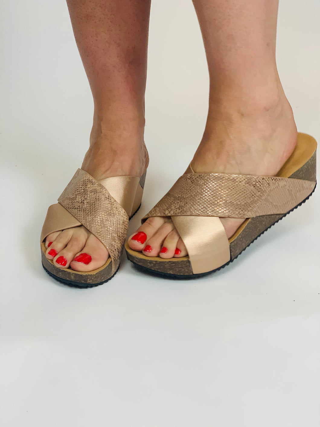 Rose Gold Cross Front Mule - chichappensboutique