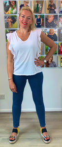 Soft V-neck T with frill sleeve - chichappensboutique