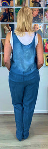 Soft pale denim dungarees with adjustable straps - chichappensboutique