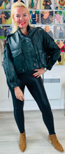 Load image into Gallery viewer, Cropped Leather Look Oversized Jacket - chichappensboutique