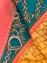 Load image into Gallery viewer, Satin scarf with chain detail in pink, yellow and teal - chichappensboutique
