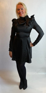 Black Satin Structured Dress - chichappensboutique