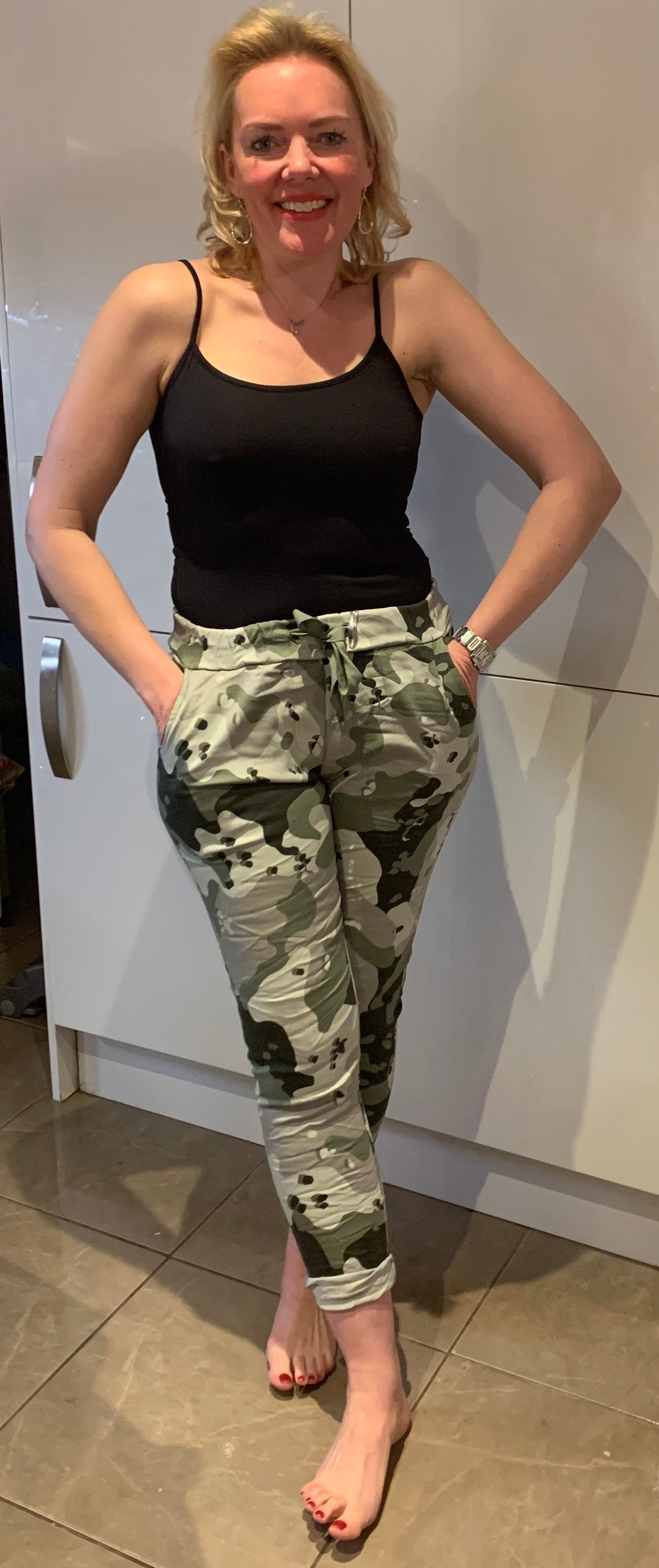 Essential Turn Up Trousers in Abstract Camo - chichappensboutique