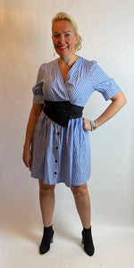 Pinstripe Wrap Dress - chichappensboutique
