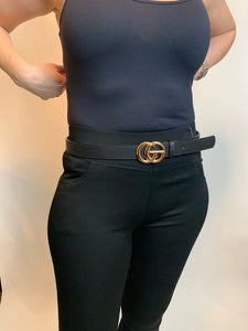 GG Belt Gucci Inspired Black with gold or silver buckle - chichappensboutique