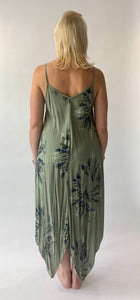 Long Handkerchief Dress in Botanical Tie Dye - chichappensboutique