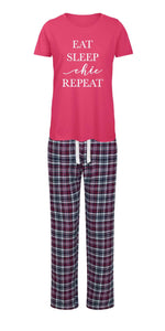 Tartan EAT SLEEP chic REPEAT PJ's (various colours) - chichappensboutique