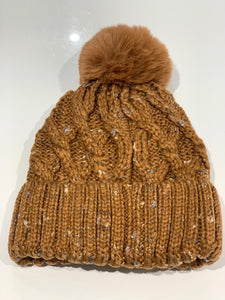 Speckled Cable Bobble Hat (various colours)