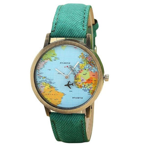 Globe Trotter World Map Watch - 7 Colors Available! on equator map, us and europe map, australia map, google map, continent map, country map, canada map, middle east map, earth map, philippines map, united states map, america map, london map, hemisphere map, tectonic plates map, global map, austria map, syria map, robinson map, usa map,