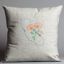 Load image into Gallery viewer, California with Poppies Pillow
