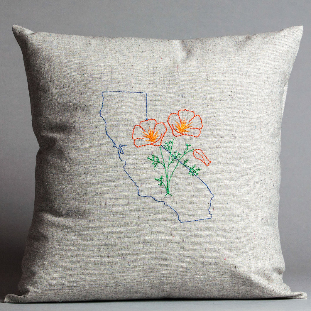 California with Poppies Pillow