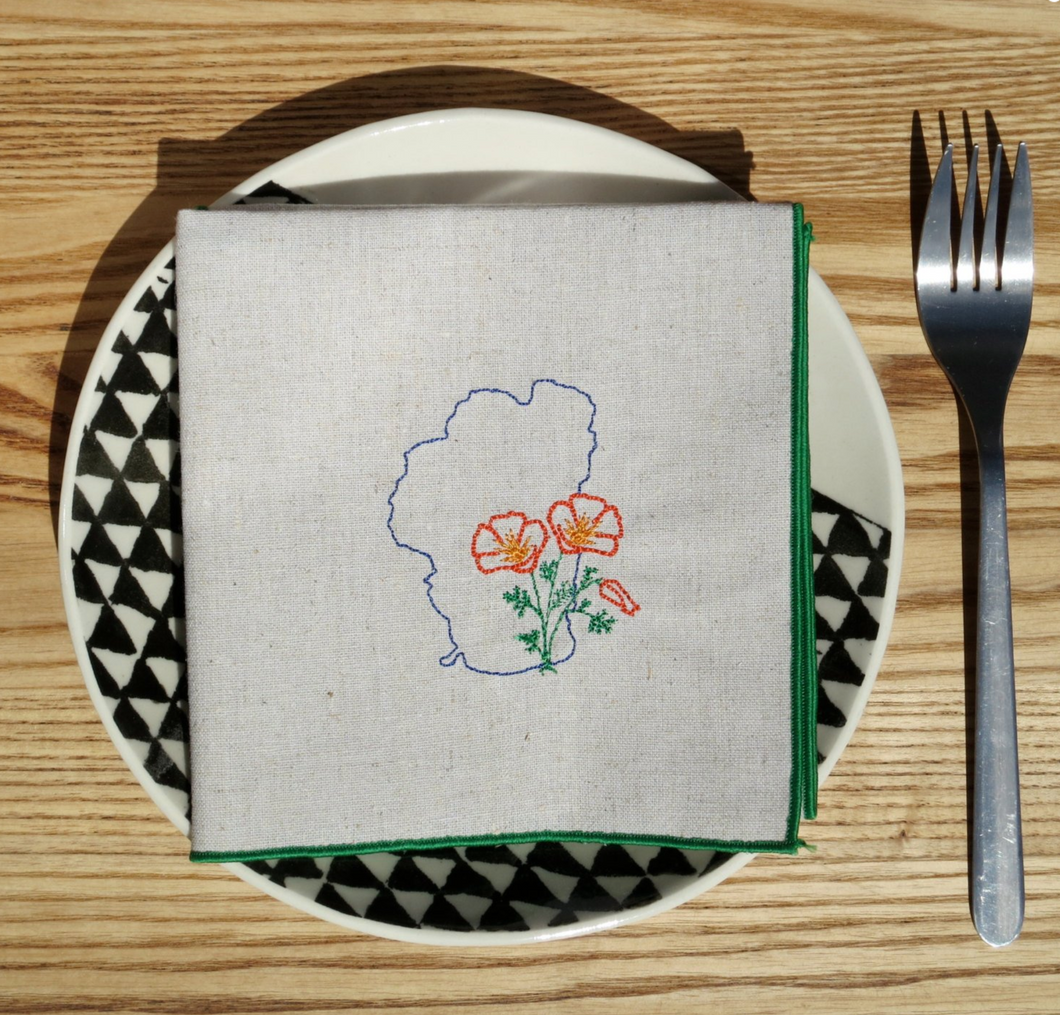 Lake Tahoe with California Poppy Dinner Napkins