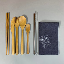 Load image into Gallery viewer, Poppies on Denim Travel Utensil Set