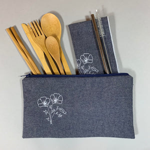 Poppies on Denim Travel Utensil Set