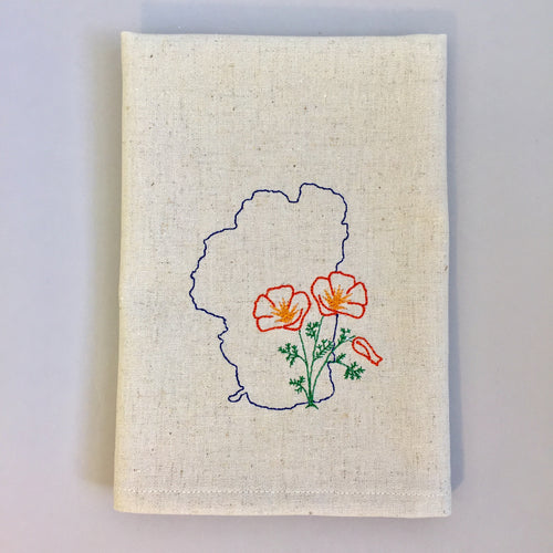 Lake Tahoe with California Poppy Towel