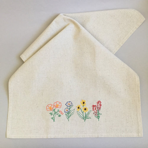 Wildflowers towel teatowel in hemp and organic cotton
