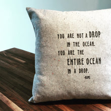 Load image into Gallery viewer, Rumi Quote: Ocean Drop Pillow