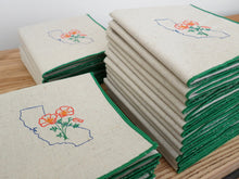 Load image into Gallery viewer, California with Poppies Dinner Napkins