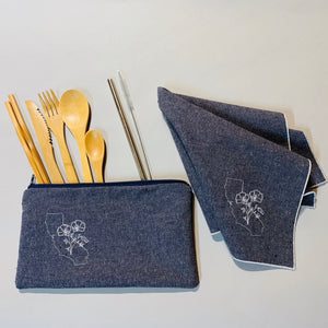 California with Poppies On-The-Go Utensil Set