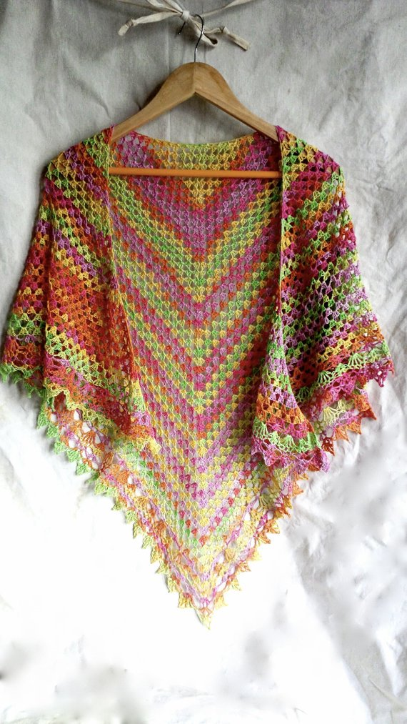 Crochet shawl, lace scarf, rainbow shawl, festival fashion, spring summer accessory