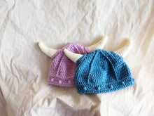 Load image into Gallery viewer, Viking hat, pink viking hat, blue viking hat, baby viking hat, photo prop, crochet hat with horns.