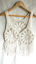Load image into Gallery viewer, Cotton crochet vest, crochet waistcoat, ivory white crochet fringe waistcoat, bohemian vest, crochet knit waistcoat.