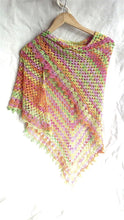 Load image into Gallery viewer, Crochet shawl, lace scarf, rainbow shawl, festival fashion, spring summer accessory