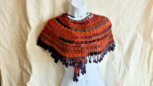 Load image into Gallery viewer, Crochet shawl, boho shawl, fringe shawl, autumn colours wrap, bohemian scarf, orange red stole, mothers day gift