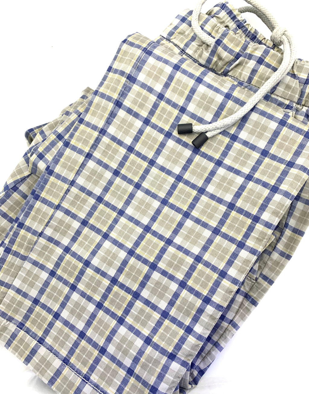 Teleria Zed Drawstring Cotton Tan & Blue Plaid Chino