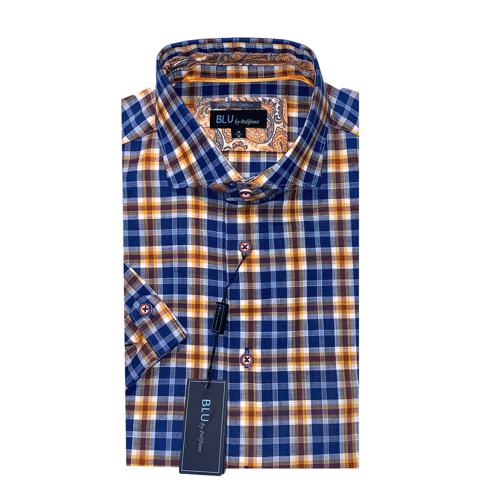 BLU by Polifroni Blue & Gold Short Sleeve Sport Shirt