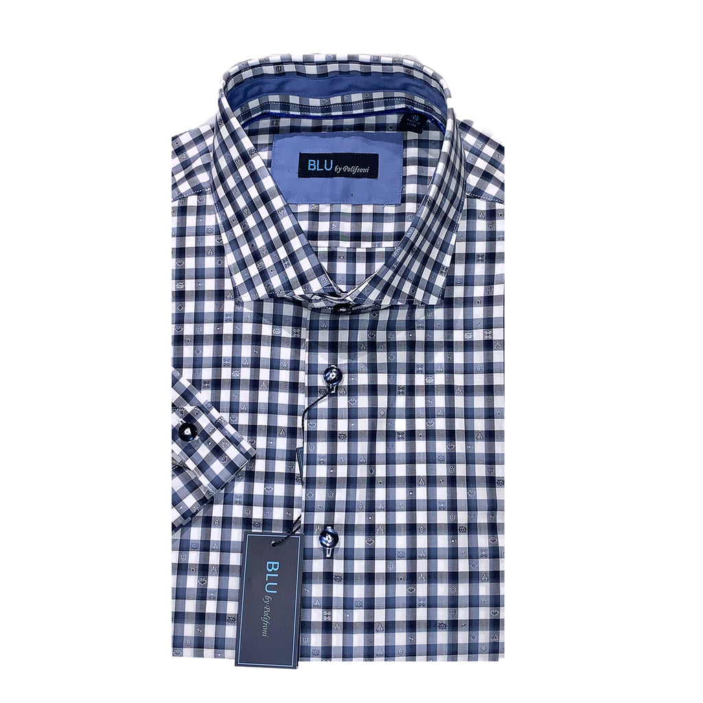 BLU by Polifroni Navy Blue & White Check Short Sleeves Sport Shirt