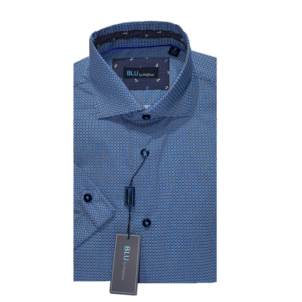 BLU by Polifroni Short Sleeve Sports Shirt - Blue Print