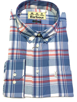 Barbour Blue, Grey and Pink Tartan Plaid Summer Sport Shirt