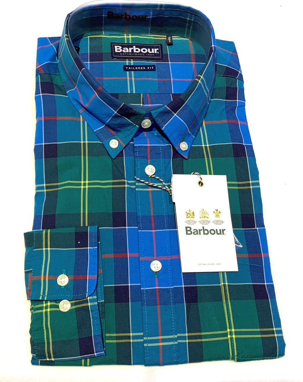 Barbour Blue and Green Tartan Plaid Summer Sport Shirt