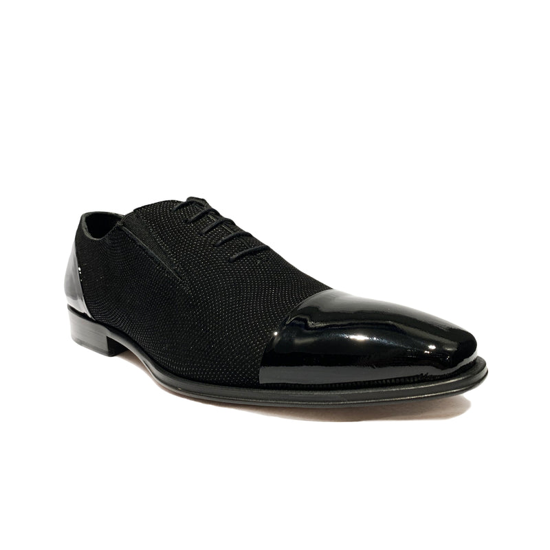 Mezlan Zael Black Shimmer Lace Up Tuxedo Shoes