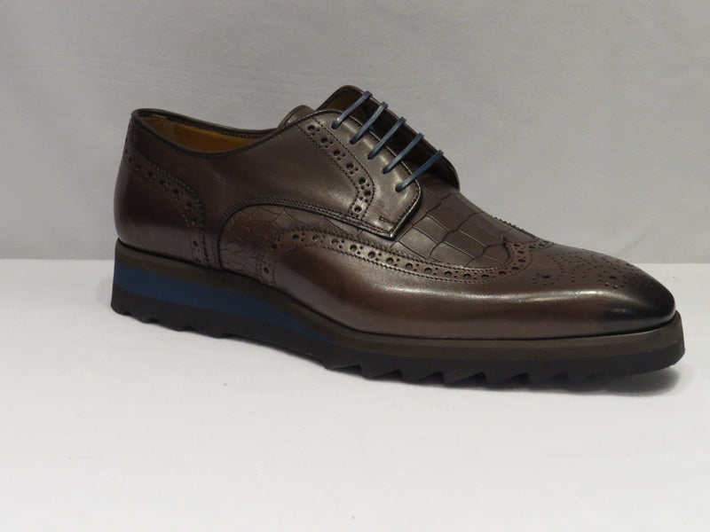 Brown Wingtip Sneaker Lace Up Shoes: Stamped Croco