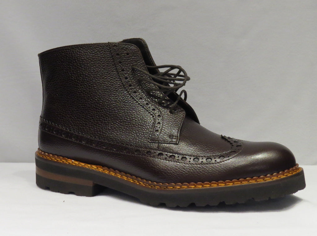 Brown Wingtip Lace Up Boot