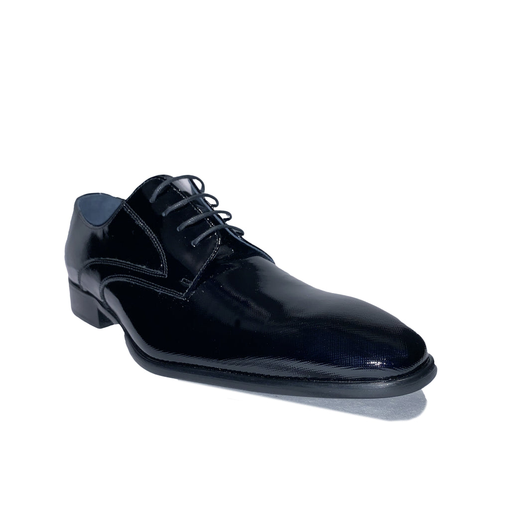 Black / Dark Blue Plain Toe Patent Tuxedo Shoes