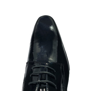 Calzoleria Toscana Black / Dark Blue Lace Up Plain Toe Patent Tuxedo Shoes