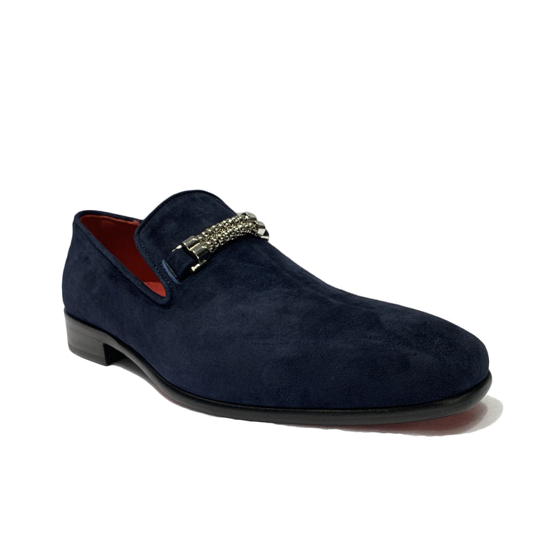 Emilio Franco Blue Suede Slip On Loafer Shoes with Chrome Roped Chain Ornamment