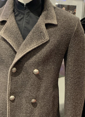 Gimos Over Coat: Grey Taupe Double Breasted Knit Stretch Peacoat 3/4 Length
