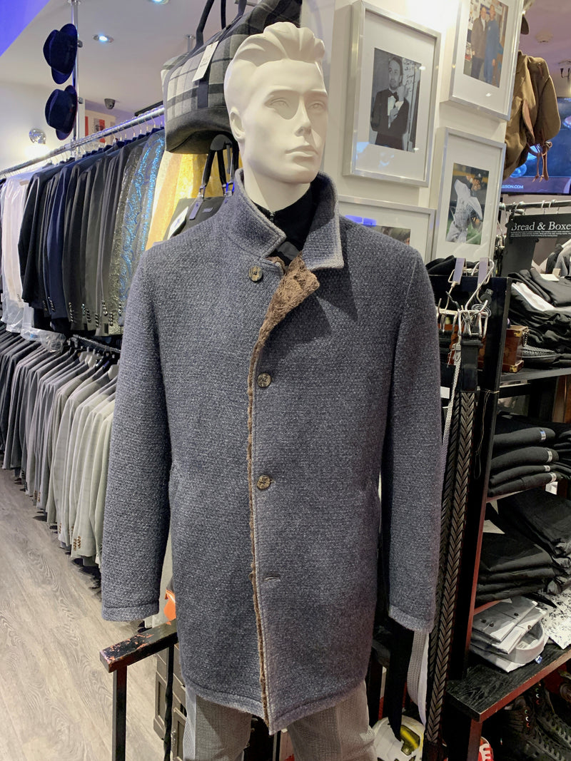 Gimos Over Coat: Denim Blue Knit Stretch with Brown Shearling Lining