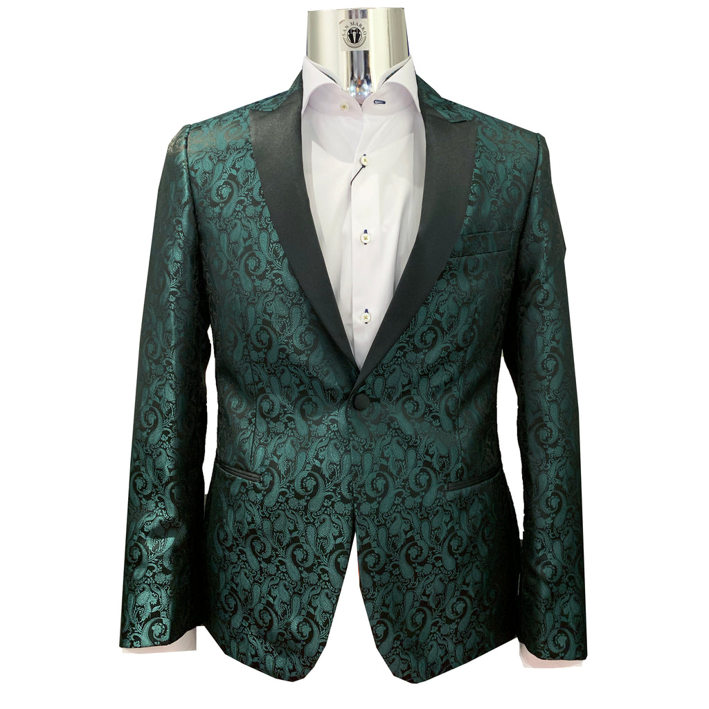 Couture 1910 Slim Fit Hunter Green Paisley Tuxedo Jacket