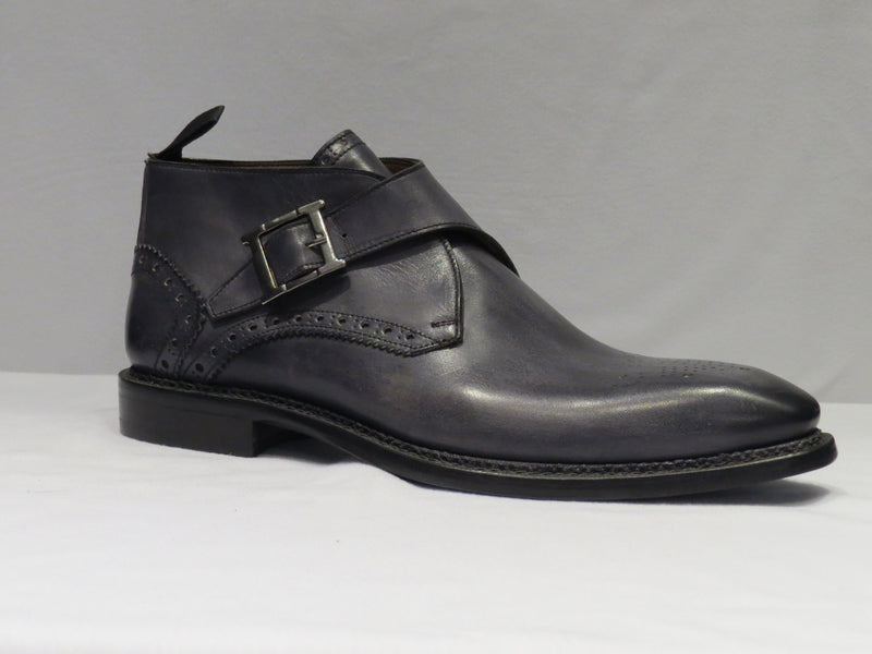 Grey Men's Monk Strap Ankle Boot w/ a Spanish Toe Detail