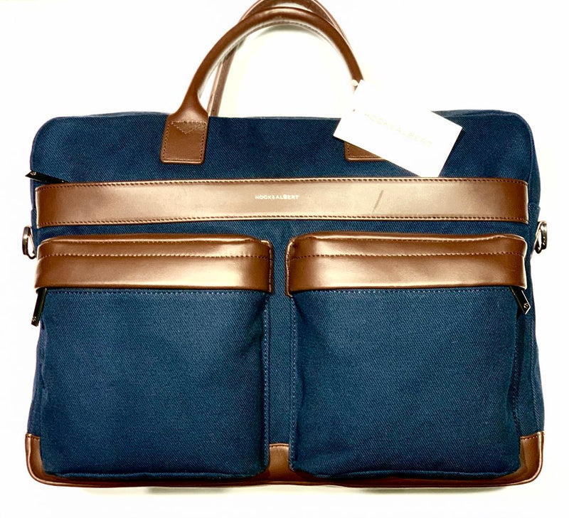 Hook & Albert Navy & Brown Canvas and Leather Laptop Bag